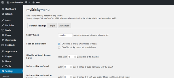 myStickymenu, Simple sticky (fixed on top) menu | transformWeb
