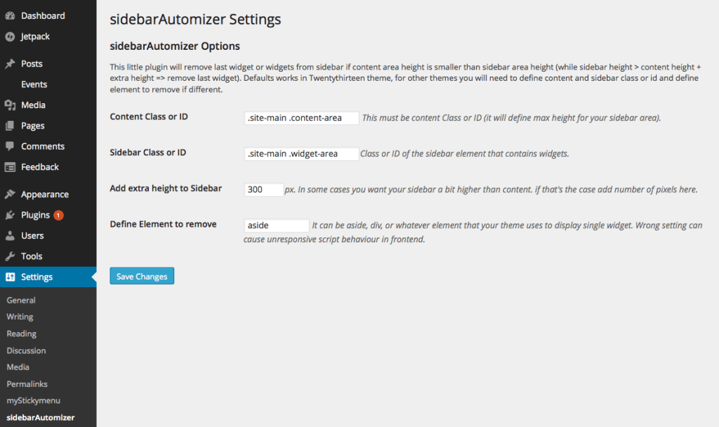 sidebarAutomizer settings