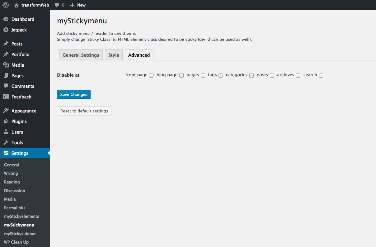 myStickymenu, Simple sticky (fixed on top) menu   transformWeb
